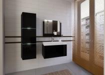Badmöbel Set 4-Tlg Schwarz HGL LOBOS XS inkl.60 cm Waschtisch und LED
