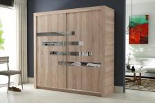 Schiebetürenschrank Kleiderschrank -Six 16- Sonoma /Spiegel 180x200cm