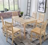 Tischgruppe BREMEN Kiefer massiv Natur 1 Tisch 120x70 und 6 Stühle