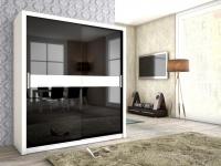 Schiebetürenschrank Schrank BRIT Weiss / Schwarz HGL + Glas 180x200 cm