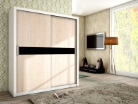 Schiebetürenschrank Schrank BRIT Weiss /Sonoma +Schwarzglas 180x200 cm