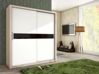 Schiebetürenschrank Schrank BRIT Sonoma / Weiss + Schwarzglas 180x200