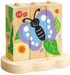 Holzspielzeug - Von der Raupe zum Schmetterling -Stapelpuzzle