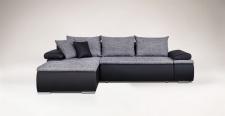 Couchgarnitur Camilla L-Form Kuntleder Schwarz / Stoff Grau