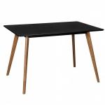 Esstisch Tisch - ELMAR - Vierfußtisch 120x80 cm MDF Schwarz Matt/Eiche