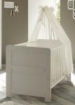 Babybett Gitterbett Bett - SALY - in Pinie Struktur Weiss 76x144 cm