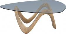 Couchtisch Beistelltisch DANUTA 106x106cm Glas klar Magnesia Holzoptik