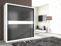 Schiebetürenschrank Schrank BRIT Weiss / Graphit +Weissglas 180x200 cm