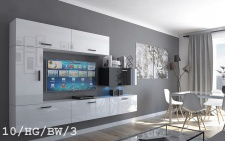 Mediawand Wohnwand 7 tlg - Bedox 3 -Weiss- Schwarz HGL Nr.1/ inkl.LED