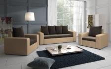 Sofa Set NINA 3-1-1 Sofagarnitur in Beige / Dunkelbraun