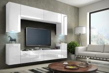 Mediawand Wohnwand 8 tlg - Konzept 1 - Weiss HGL mit LED-Beleuchtung
