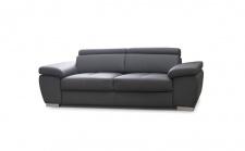 Sofa 3-Sitzer ROXI Kunstleder Grau 216x78x105 cm