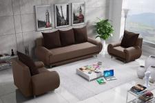 Sofa Set MIKA 3-1-1 Sofagarnitur in Polyesterstoff Sand / Braun