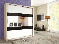 Schiebetürenschrank Schrank EMIL Sonoma /Weiss +Schwarzglas 180x200 cm