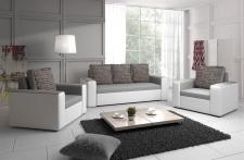 Sofa Set LEEDS 3-1-1 Sofagarnitur Kunstleder-Webstoff Weiss / Hellgrau