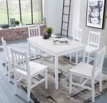 Tischgruppe BREMEN Kiefer massiv Weiss 1 Tisch 120x70 und 6 Stühle