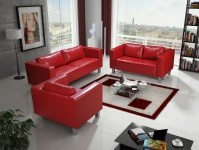 Sofa Set MAILAND 3-2-1 Sofagarnitur in Kunstleder Rot