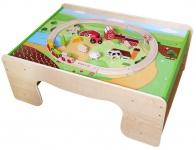 Holzspielzeug - Eisenbahn-Tisch + Eisenbahn-Set Bauernhof