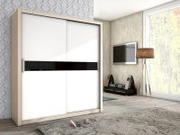 Schiebetürenschrank Schrank BRIT Esche / Weiss + Schwarzglas 180x200cm