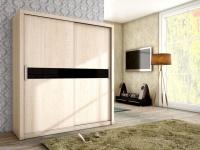 Schiebetürenschrank Schrank BRIT Sonoma matt + Schwarzglas 180x200 cm