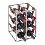 Weinregal Design 38.5 cm für 6 Flaschen Alu Silber mit Lederschlaufen