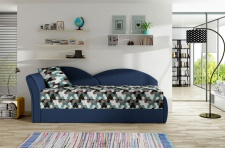 Sofa Schlafsofa inklusive Bettkasten ALINA / L - Dunkelblau / Muster