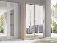 Schiebetürenschrank Schrank VISBY Sonoma + Spiegel 150x215 cm