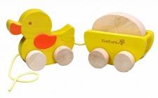 Holzspielzeug - Nachzieh Ente mit Ei. beige/gelb