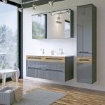 Badmöbel Set 5-tlg Badezimmerset LAXY Grau HGL inkl.Waschtisch 120 cm