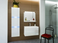 Badmöbel Set 4-Tlg Weiss HGL DREAM XS inkl.60 cm Waschtisch und LED