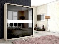 Schiebetürenschrank Schrank BRIT Sanremo /Schwarz HGL +Glas 180x200 cm