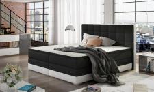 Boxspringbett Bett PRATO Webstoff Schwarz/ Kunstleder Weiß 120x200cm