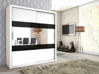 Schiebetürenschrank Schrank EMIL Weiss matt + Schwarzglas 180x200 cm