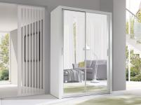 Schiebetürenschrank Schrank VISBY Weiss matt + Spiegel 150x215 cm
