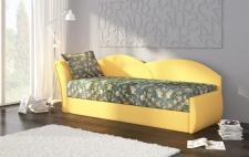 Sofa Schlafsofa inklusive Bettkasten ALINA / L - Gelb / Muster