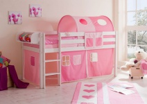 Hochbett Bett DANY Kiefer Weiss inkl.Vorhang Rosa / Pink