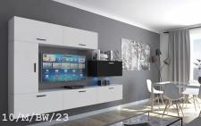 Mediawand Wohnwand 7 tlg - Bedox 3 -Weiss- Schwarz matt Nr.1 + LED