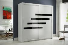 Schiebetürenschrank Kleiderschrank -Six 16-Weiss/Schwarzglas 180x200cm