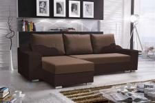 Ecksofa Sofa COLLIN mit Schlaffunktion Schwarz / Braun Ottomane Links