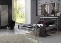 Metallbett Doppelbett Bett STEEL Nr.01 Silber Lackiert 120x200 cm