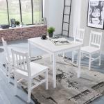 Tischgruppe BREMEN Kiefer massiv Weiss 1 Tisch 108x65 und 4 Stühle