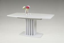 Auszugstisch Esstisch LINA Säulentisch 160-200x90 cm in Weiss glanz