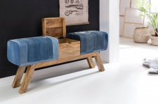 Sitzbank Bank POCKET Massivholz Denim blau mit Box 120x29x53cm