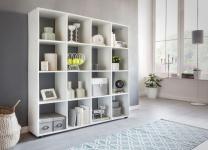 Bücherregal Regal Raumteiler NAOLO 138x29x142 cm Weiß 16 Fächer