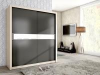 Schiebetürenschrank Schrank BRIT Esche /Graphit + Weissglas 180x200 cm