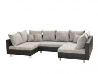 Couchgarnitur Allegra U-Form Schwarz-Grau inkl.Hocker