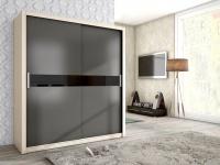 Schiebetürenschrank Schrank BRIT Esche /Graphit +Schwarzglas 180x200cm