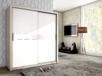 Schiebetürenschrank Schrank BRIT Esche / Weiss + Weissglas 180x200cm