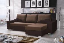 Ecksofa Sofa COLLIN mit Schlaffunktion Schwarz / Braun Ottomane Rechts
