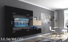 Mediawand Wohnwand 7 tlg - Bedox 3 -Schwarz- Sonoma matt Nr.1 + LED
